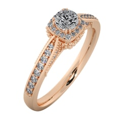 18KT Gold Ring with 0.25 Carat D Color VVS1 Center Diamond and Side Stone 0.25 Carat