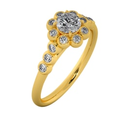 18KT Gold Ring with 0.30 Carat D Color VVS1 Center Diamond with Certificate and Side Stone 0.20 Carat