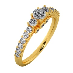 18KT Gold Ring with 0.20 Carat D Color VVS1 Center Diamond and Side Stone 0.55 Carat
