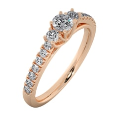 18KT Gold Ring with 0.20 Carat D Color VVS1 Center Diamond and Side Stone 0.35 Carat