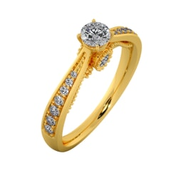 18KT Gold Ring with 0.25 Carat D Color VVS1 Center Diamond and Side Stone 0.15 Carat