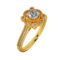 18KT Gold Ring with 0.25 Carat D Color VVS1 Center Diamond and Side Stone 0.20 Carat
