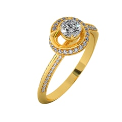 18KT Gold Ring with 0.30 Carat D Color VVS1 Center Diamond with Certificate and Side Stone 0.30 Carat