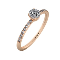 18KT Gold Ring with 0.40 Carat D Color VVS1 Center Diamond with Certificate and Side Stone 0.15 Carat