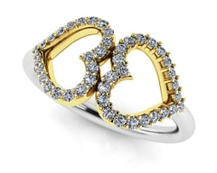 18K Gold and 0.22 Carat F Color and VS Clarity Diamond Fashion Ring