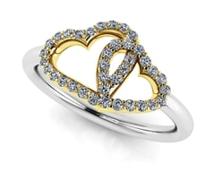 18K Gold and 0.19 Carat F Color and VS Clarity Diamond Fashion Ring