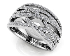 18K Gold and 0.88 Carat F Color and VS Clarity Diamond Fashion Ring