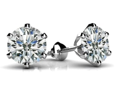 6 Prong Round Diamond Stud Earrings
