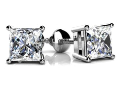 4 Prong Princess Diamond Stud Earrings