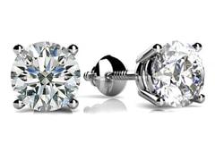 4 Prong Round Diamond Stud Earrings
