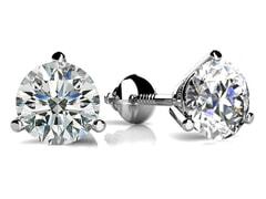 3 Prong Round Diamond Stud Earrings
