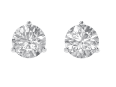 Classic Three Prong Round Diamond Studs In 18KT Gold