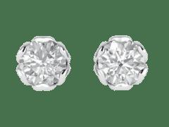 Tulip Diamond Stud Earrings in 18KT Gold
