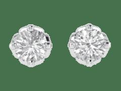 Beautiful Tulip Diamond Stud Earrings in 18KT Gold