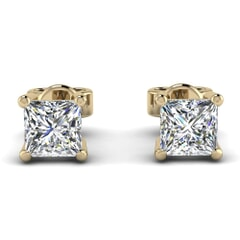 Classic Four Prong Princess Diamond Studs In 18KT Gold