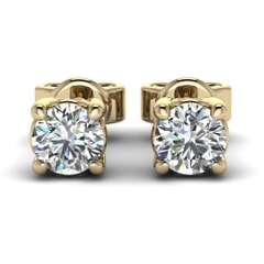 Classic Four Prong Round Diamond Studs In 18KT Gold