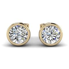 Classic Bezel Round Diamond Studs In 18KT Gold
