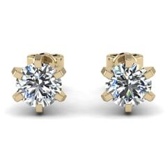 Classic Six Prong Diamond Studs In 18KT Gold