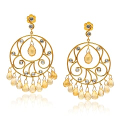 Designer Earrings in 14K Gold, White Sapphires and Citrine Broilettes