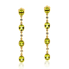 Designer Earrings in 14K Gold, White Sapphires and Peridot