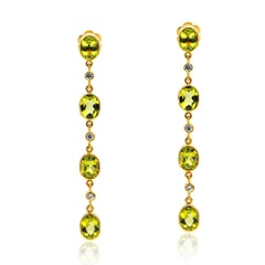 Designer Earrings in 14K Gold, White Sapphires and Peridot