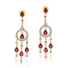 Designer Earring in 14K Gold, Pink Tourmalines and White Sapphires