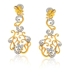 Designer Earrings in 14K Gold and 1.34 carat Diamonds