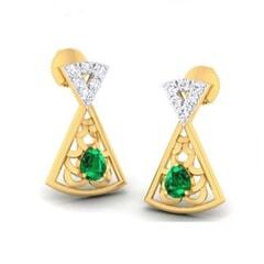18K Gold Earring and 0.15 carat Diamond