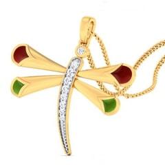 18K Gold Pendant and 0.14 carat Diamonds
