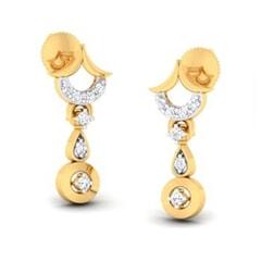 18K Gold Earring and 0.13 carat Diamond