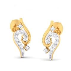 18K Gold Earring and 0.17 carat Diamond